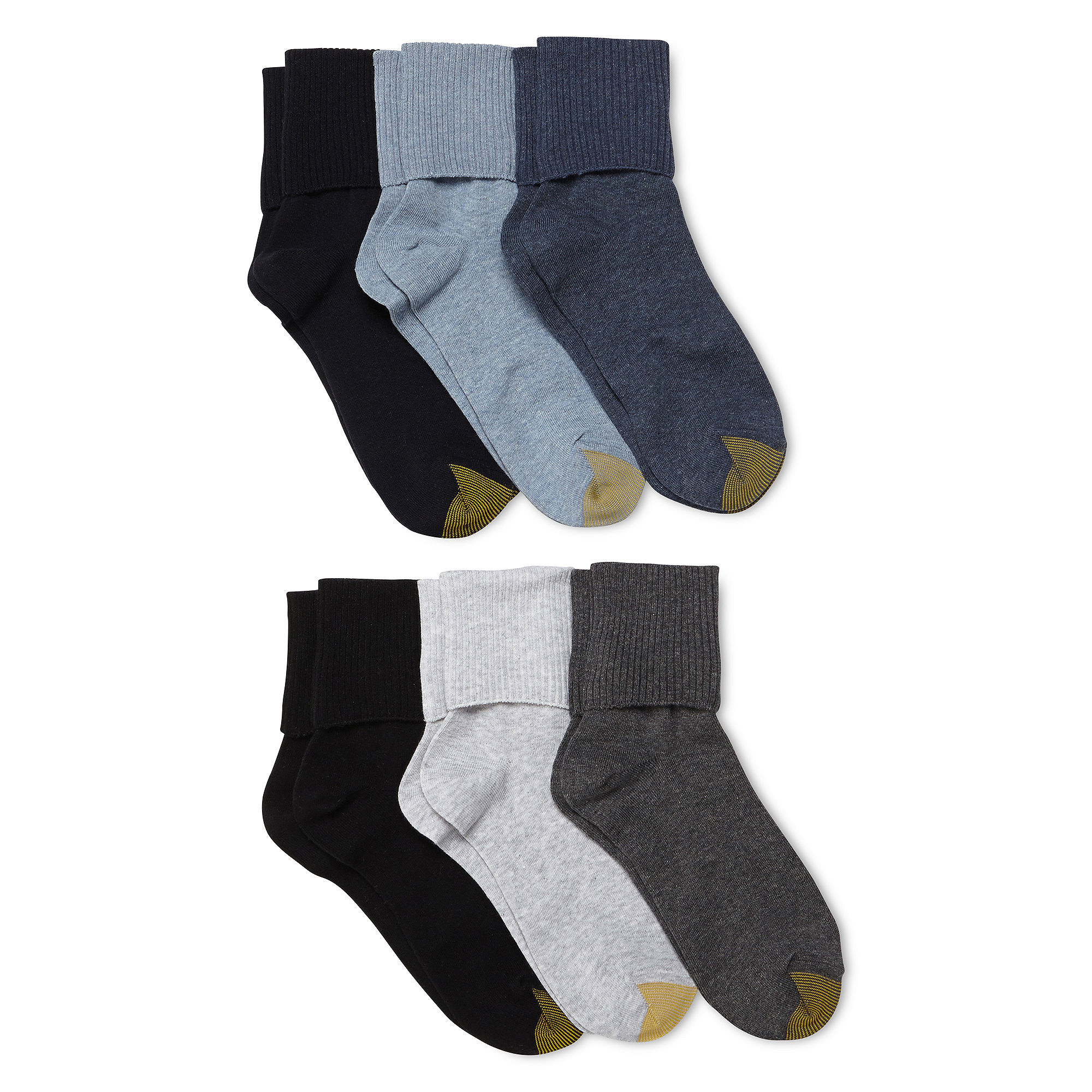 Gold Toe Goldtoe 6 Pk Turn Cuff Crew Socks Extended Sizes | Underwear, Hosiery, Footwear and Clothing