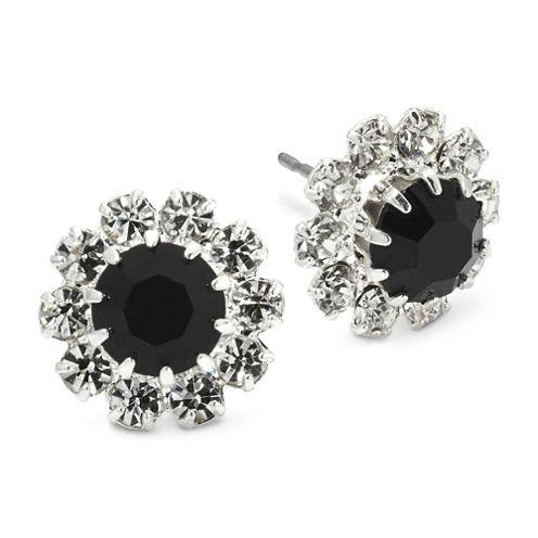 Vieste® Jet Black & Clear Crystal Flower Earrings