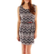 City Triangles® Belted Chevron Chiffon Dress