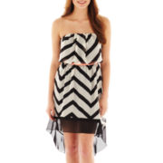City Triangles® Strapless Chevron Print High-Low Dress