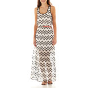 City Triangles® Lattice-Back Belted Maxi Dress