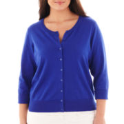 jcp™ 3/4 Sleeve Crewneck Cardigan - Plus