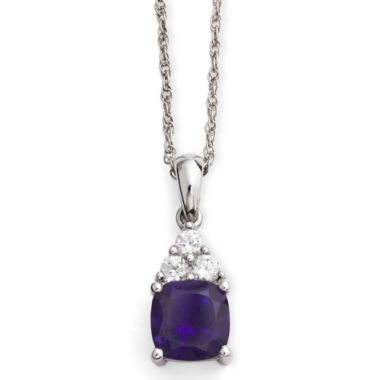 jcpenney.com | Genuine Amethyst & Lab-Created White Sapphire Pendant Necklace