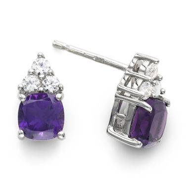jcpenney.com | Genuine Amethyst & Lab-Created White Sapphire Sterling Silver Stud Earrings