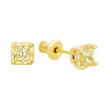 jcpenney.com | ½ CT. T.W. TruMiracle® Yellow Diamond & Lab-Created Garnet Stud Earrings