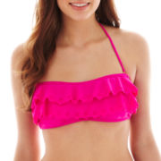 Arizona Double-Ruffled Bandeau Bra Swim Top - Juniors