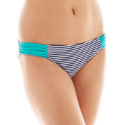 Arizona Striped Shirred-Side Hipster Swim Bottoms