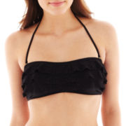 Arizona Crochet Ruffled Bandeau Swim Top - Juniors
