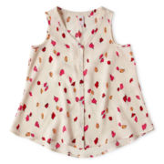 Total Girl® Button-Front Top - Girls 7-16 and Plus