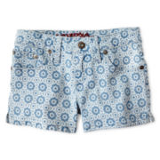 Arizona Tile Print Denim Shorts - Girls 6-16 & Plus
