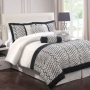 Flocked Bows 7-pc. Comforter Set