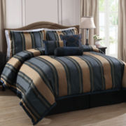 Midnight Stripe 7-pc. Jacquard Comforter Set