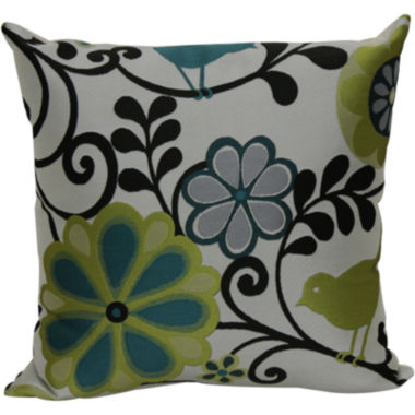 "jcpenney.com | 18"" Jacquard Bird and Floral Print Decorative Pillow"