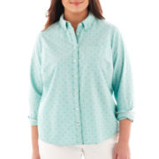 jcp™ Long-Sleeve Flocked Dot Oxford Shirt - Plus