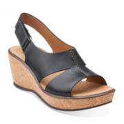 Clarks® Rosamund Dune Womens Leather Slingback Sandals