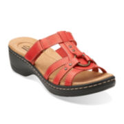 Clarks® Hayla Theme Womens Leather Slide Sandals