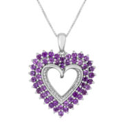 Genuine Amethyst and Diamond-Accent Double-Framed Heart Pendant Necklace