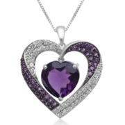 Genuine Amethyst and Lab-Created Amethyst and White Sapphire Heart Pendant