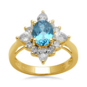 Genuine Blue Topaz and Lab-Created White Sapphire Ring