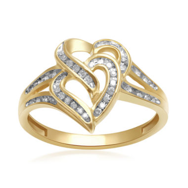 jcpenney.com | 1/8 CT. T. W. Diamond 10K Yellow Gold Double-Heart Ring