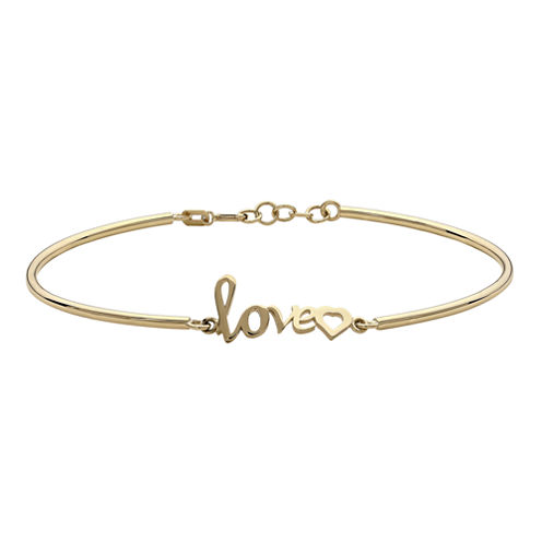 10K Yellow Gold Love and Heart Bracelet