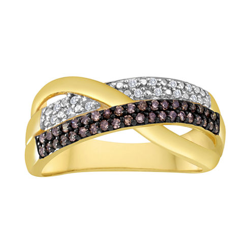 1/4 CT. T.W. White and Champagne Diamond Crossover Ring