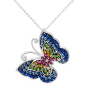 Multicolor Crystal Sterling Silver Butterfly Pendant Necklace