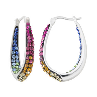 jcpenney.com | Multicolor Crystal Sterling Silver Inside-Out Hoop Earrings