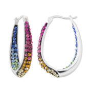 Multicolor Crystal Sterling Silver Inside-Out Hoop Earrings
