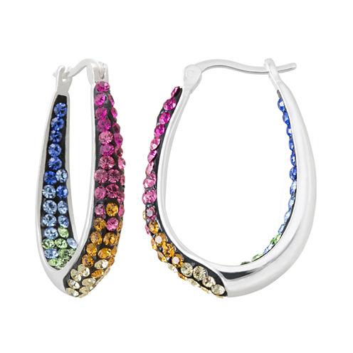 Multicolor Crystal Sterling Silver Inside-Out Hoop Earrings