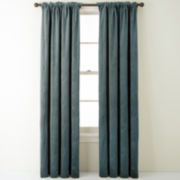 Bliss Velvet Embroidered Back-Tab Curtain Panel