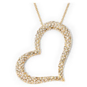 Crystal Gold-Tone Openwork Heart Necklace