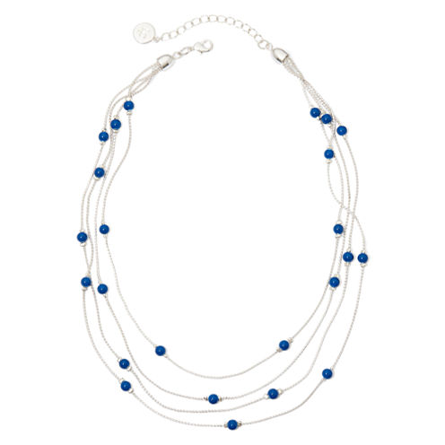 Liz Claiborne® Blue Bead 4-Row Necklace