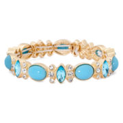 Monet® Gold-Tone Blue Stone and Crystal Stretch Bracelet
