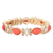 Monet® Gold-Tone Orange Stone and Crystal Stretch Bracelet