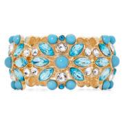 Monet® Gold-Tone Blue Stone and Crystal Stretch Bracelet