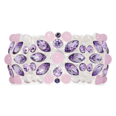 jcpenney.com | Monet® Silver-Tone Purple Stone and Crystal Stretch Bracelet