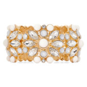 Monet® Gold-Tone White Stone and Crystal Stretch Bracelet