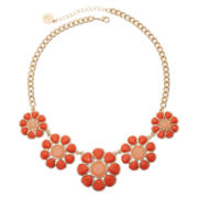 Liz Claiborne® Gold-Tone Orange Flower Necklace