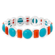 Liz Claiborne® Silver-Tone Aqua and Orange Stone Stretch Bracelet