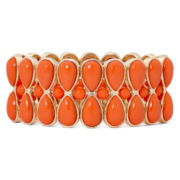 Liz Claiborne® Gold-Tone Orange Stone Teardrop Stretch Bracelet