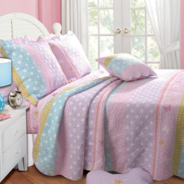 Greenland Home Fashions Polka Dot Stripe Reversible Quilt Set