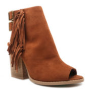 Qupid Barnes Fringe Peep-Toe Ankle Booties