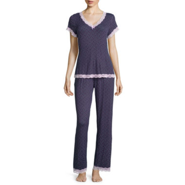 jcpenney.com | Rene Rofe® Short-Sleeve Lace Trim Shirt and Pants Pajama Set