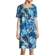 Adonna® Short-Sleeve Button-Front Patio Nightgown