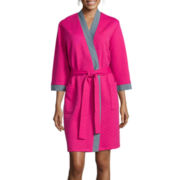 Comfort & Co Long-Sleeve Jacquard Knit Quilted Short Robe