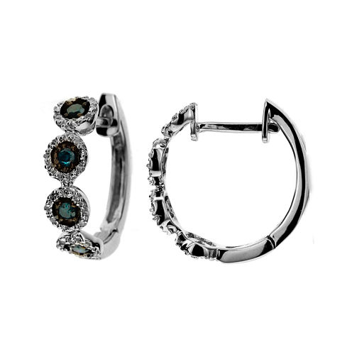 LIMITED QUANTITIES 1/4 CT. T.W. White and Color-Enhanced Blue Diamond Hoop Earrings