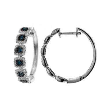 jcpenney.com | LIMITED QUANTITIES 1/3 CT. T.W. White and Color-Enhanced Blue Diamond Hoop Earrings