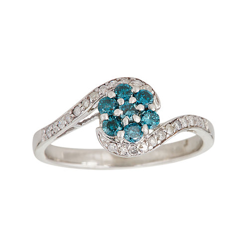 LIMITED QUANTITIES 1/3 CT. T.W. White and Color-Enhanced Blue Diamond Flower Ring