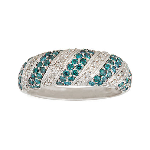 LIMITED QUANTITIES 1/2 CT. T.W. White and Color-Enhanced Blue Diamond Band